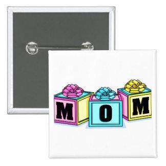 Mom (Blocks) 2 Inch Square Button