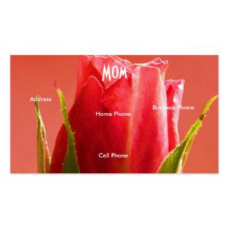Mom Blue Pink Rose Profile Card Business Card