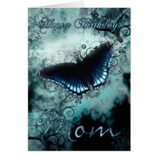 Mom Butterfly Birthday Card - Blue Butterfly Birth