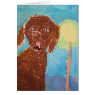 """Mom, can we get a dog? (Watercolor & Oil Pastels) Card"