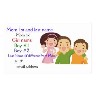 Mom Card Girl Boy Boy Pack Of Standard Business Cards