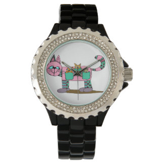 Mom Cat Carrying Her Cute Curious Kittens Wristwatches