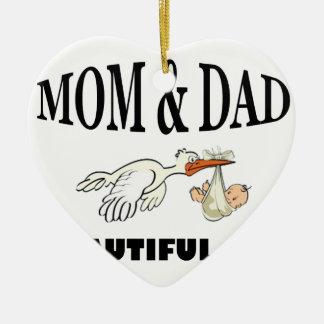 Mom Dad and beautiful son Ceramic Ornament