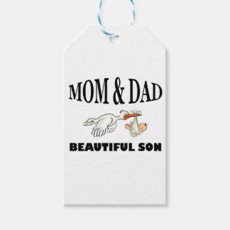 Mom Dad and beautiful son Gift Tags