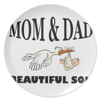 Mom Dad and beautiful son Plate