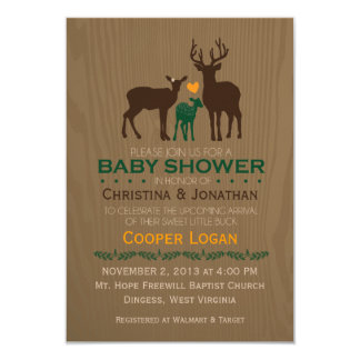 Mom, Dad & Baby Boy Deer - Orange Shower Invite