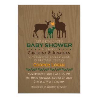 "Mom, Dad & Baby Boy Deer - Orange Shower Invite 3.5"" X 5"" Invitation Card"