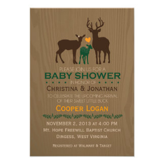 Mom Dad Baby Deer - Baby Shower Invitation Personalized Announcements