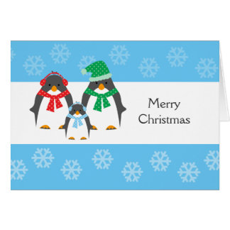 Mom Dad Baby Penguin CHRISTMAS CARD