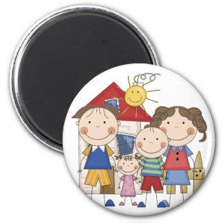 Mom, Dad, Big Boy, Small Girl Family Magnet