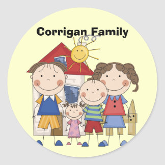 Mom, Dad, Big Boy, Small Girl Family Round Sticker