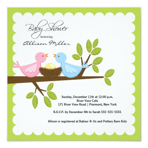 """Mom & Dad Birds with Baby Bird Baby Shower 5.25"""" Square Invitation Card"""