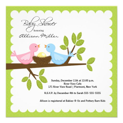 Mom & Dad Birds with Baby Bird Baby Shower Personalized Announcement
