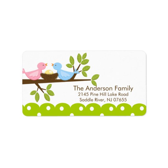 Mom Dad Birds with Baby Bird Nest  Address Label
