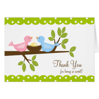 Mom Dad Birds with Nest Thank You Note Card