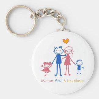 Mom, Dad & children Keychain