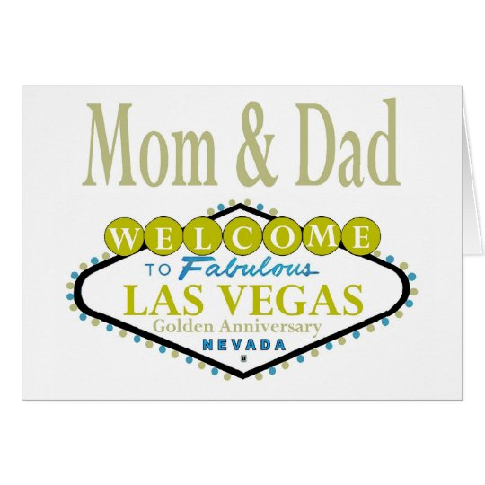 Mom & Dad Golden Las Vegas Anniversary Card