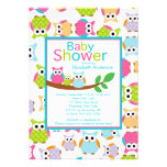 Mom & Dad Owls with Baby Owl Baby Shower Custom Invitation