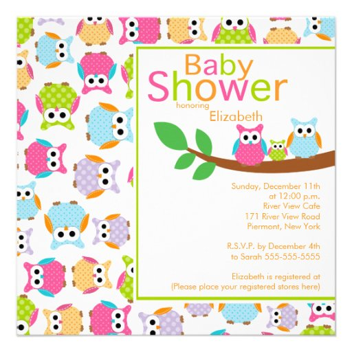 Mom & Dad Owls with Baby Owl Baby Shower Invites