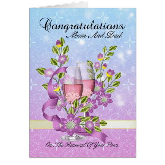 mom & dad wedding vow renewal card with pink champ