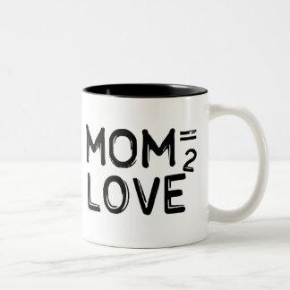 Mom Equals Love Squared Two-Tone Mug