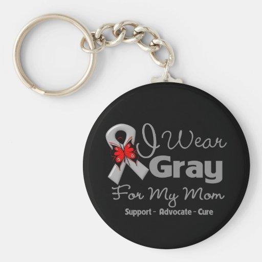 Mom - Gray Ribbon Awareness Keychains