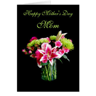 Mom, Happy Mother's Day, Stargazer Lily Bouquet Card