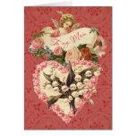 Mom, Happy Valentine's Day, vintage angel, roses Greeting Card