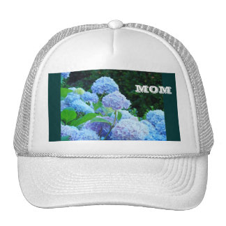 MOM hats white Blue Hydrangea Flowers Floral