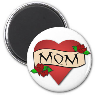 Mom heart tattoo magnet