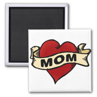 Mom Heart Tattoo Square Magnet