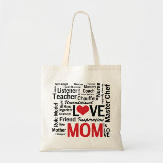 Mom is Love Mother's Day Word Cloud Tote Bag