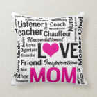 Mom is Love Pink and Black Mother's Day Throw Pillow