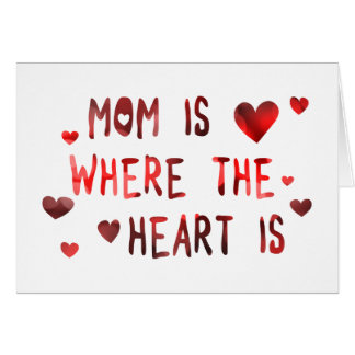 mom is where the heart is bokeh greeting card