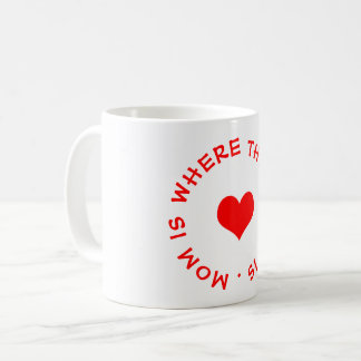 mom is where the heart is button coffee mug