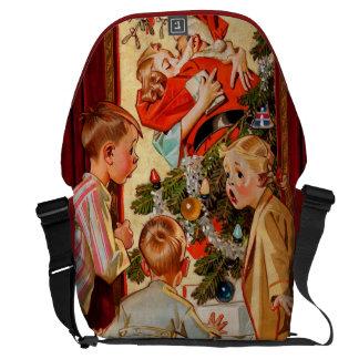 Mom Kisses Santa Claus Courier Bags