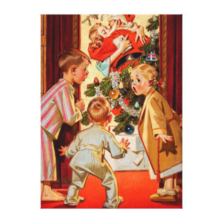 Mom Kisses Santa Claus Stretched Canvas Print