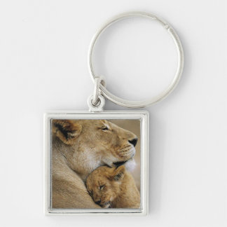 Mom Lion and Baby Cub Keychain