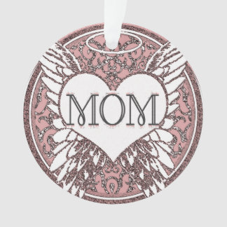 Mom Memorial with Heart and Angel Wings