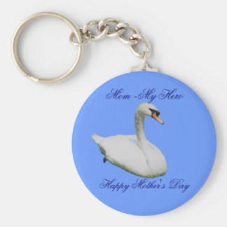 Mom My Hero Mother's Day Regal Swan Keychain
