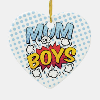 Mom of Boys Mother's Day Comic Book Style Ceramic Heart Ornament