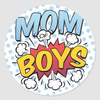 Mom of Boys Mother's Day Comic Book Style Classic Round Sticker