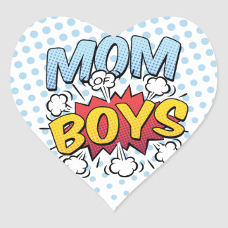 Mom of Boys Mother's Day Comic Book Style Heart Sticker