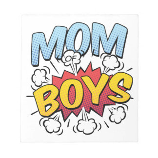 Mom of Boys Mother's Day Comic Book Style Notepad