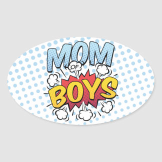 Mom of Boys Mother's Day Comic Book Style Oval Sticker