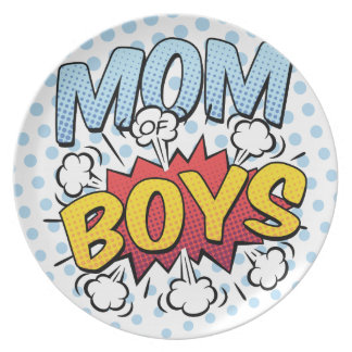 Mom of Boys Mother's Day Comic Book Style Plate