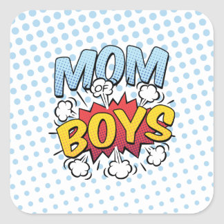Mom of Boys Mother's Day Comic Book Style Square Sticker