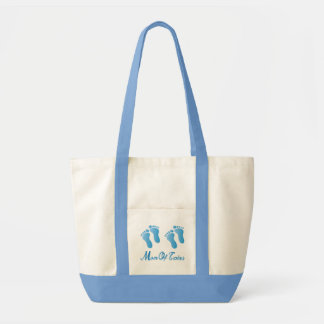 Mom Of Twin Boys Canvas Footprint Tote Bag Gift