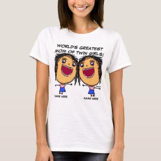 Mom Of Twin Girls Cartoon T-Shirt