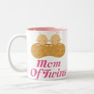 Mom Of Twins Peanut Babies Pink Mug Gift